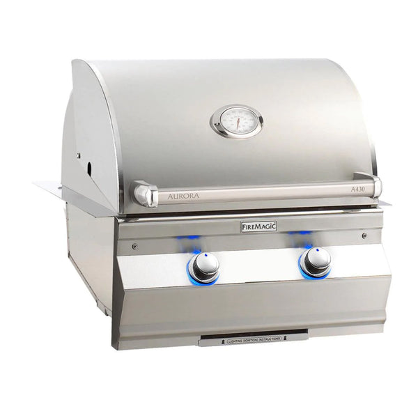 Fire Magic Aurora A430i 24-Inch Propane Gas Built-In Grill w/ One Infrared Burner and Analog Thermometer - A430I-7LAP