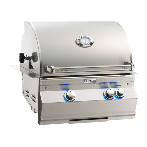 Fire Magic Aurora A430i 24-Inch Propane Gas Built-In Grill w/ Backburner, Rotisserie Kit and Analog Thermometer - A430I-8EAP