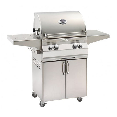 Fire Magic Aurora A430s 24-Inch Propane Gas Freestanding Grill w/ Backburner, Rotisserie Kit and Analog Thermometer - A430S-8EAP-61
