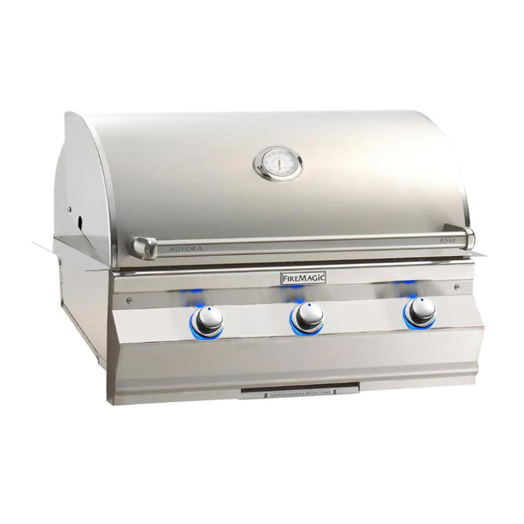 Fire Magic Aurora A540i 30-Inch Propane Gas Built-In Grill w/ 1 Sear Burner and Analog Thermometer - A540I-7LAP
