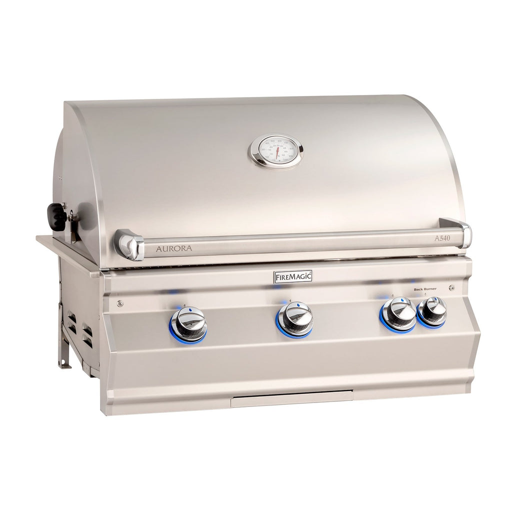 Fire Magic Aurora A540i 30-Inch Propane Gas Built-In Grill w/ Backburner, Rotisserie Kit and Analog Thermometer - A540I-8EAP