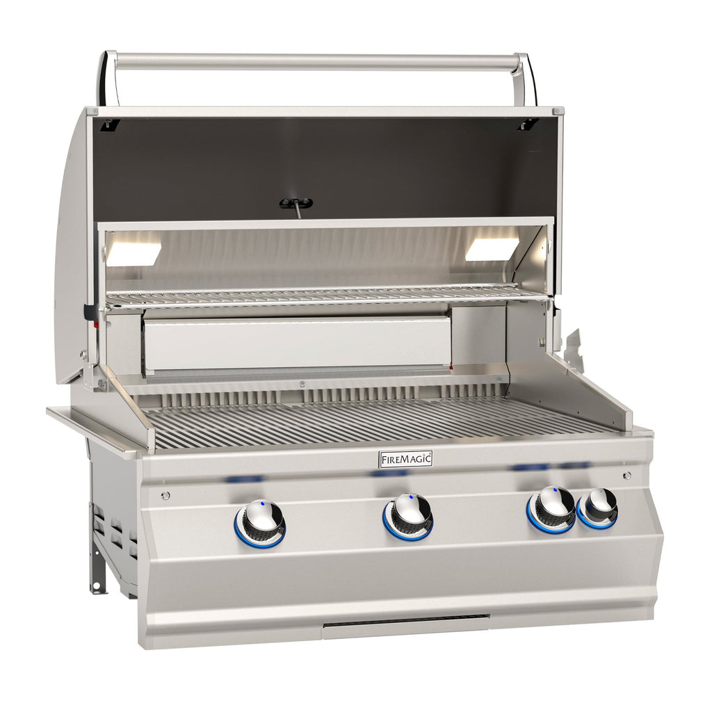 Fire Magic Aurora A660i 30-Inch Natural Gas Built-In Grill w/ One Infrared Burner, Backburner, Rotisserie Kit and Analog Thermometer - A660I-8LAN
