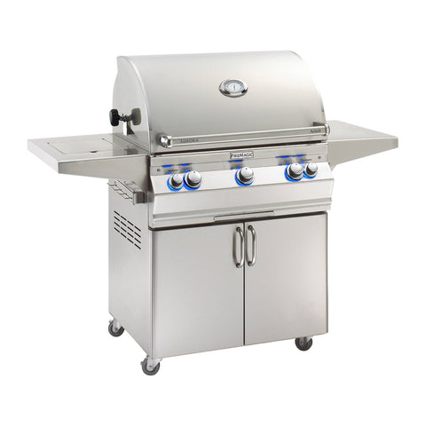 Fire Magic Aurora A660s 30-Inch Propane Gas Freestanding Grill w/ Flush Mounted Single Side Burner, 1 Sear Burner, Backburner, Rotisserie Kit and Analog Thermometer - A660S-8LAP-62