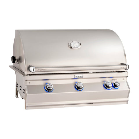 Fire Magic Aurora A790i 36-Inch Natural Gas Built-In Grill w/ 1 Sear Burner, Backburner, Rotisserie Kit and Analog Thermometer - A790I-8LAN