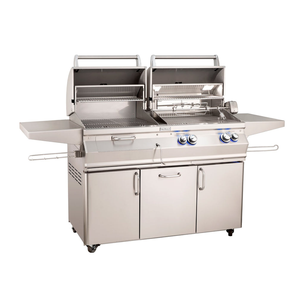 Fire Magic Aurora A830s 46-Inch Natural Gas and Charcoal Freestanding Dual Grill w/ Backburner, Rotisserie Kit and Analog Thermometer - A830S-8EAN-61-CB