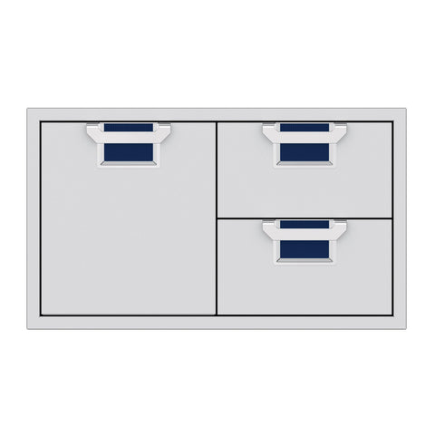 Aspire by Hestan 36-Inch Double Drawer and Storage Door Combination (Orion Dark Blue) - AESDR36-DB