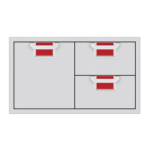 Aspire by Hestan 36-Inch Double Drawer and Storage Door Combination (Matador Red) - AESDR36-RD