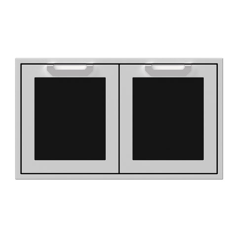 Hestan 36-Inch Double Access Doors w/ Recessed Marquise Accented Panels in Black - AGAD36-BK