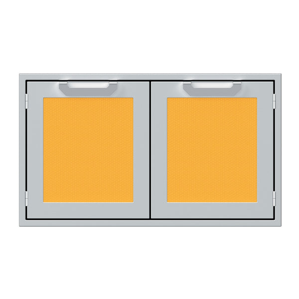 Hestan 36-Inch Double Sealed Pantry Storage Doors w/ Recessed Marquise Accented Panels in Yellow - AGLP36-YW