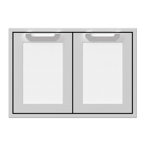 Hestan 30-Inch Double Access Door Propane Tank and Storage Cabinet w/ Recessed Marquise Accent Panel in White - AGSD30-WH