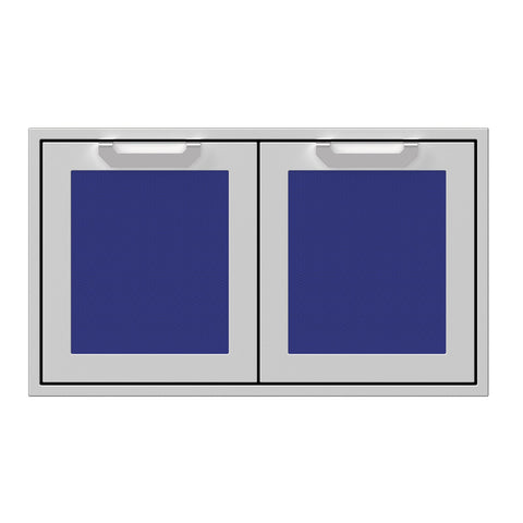 Hestan 36-Inch Double Access Door Propane Tank and Storage Cabinet w/ Recessed Marquise Accent Panel in Blue - AGSD36-BU