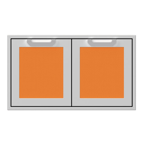 Hestan 36-Inch Double Access Door Propane Tank and Storage Cabinet w/ Recessed Marquise Accent Panel in Orange - AGSD36-OR