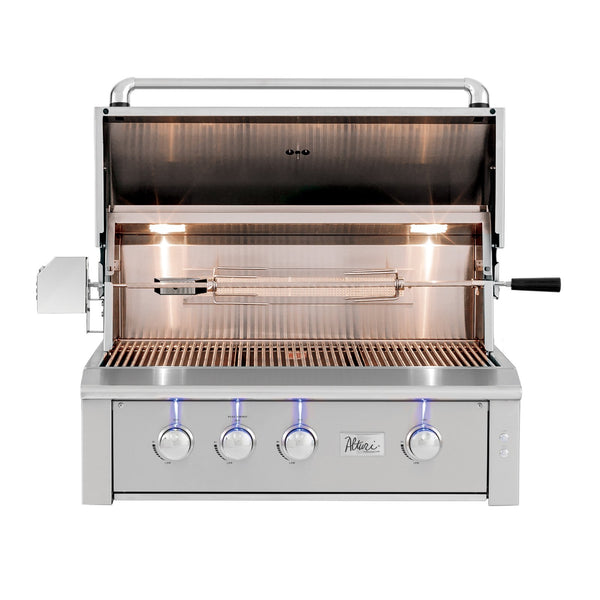 Summerset Alturi 36-Inch Propane Gas Built-In Grill w/ 3 Cast Red Brass Burners, 1 Rear Infrared Rotisserie Burner and Rotisserie Kit - ALT36R-LP
