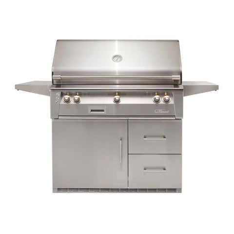 Alfresco ALXE 42-Inch Natural Gas Freestanding Grill - 1 Sear Zone w/ Rotisserie On Refrigerated Base - ALXE-42SZR-NG