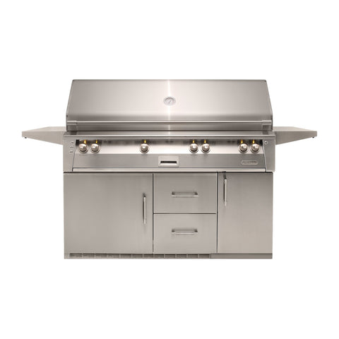 Alfresco ALXE 56-Inch Propane Gas Freestanding Grill On Refrigerated Cart w/ Rotisserie - ALXE-56BFGR-LP