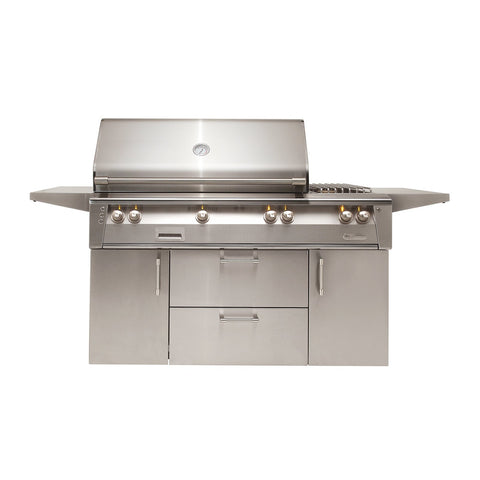 Alfresco ALXE 56-Inch Natural Gas Freestanding Grill - 1 Sear Zone w/ Rotisserie and Side Burner - ALXE-56SZC-NG