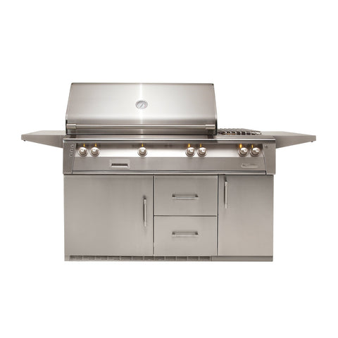 Alfresco ALXE 56-Inch Natural Gas Grill On Refrigerated Cart - 1 Sear Zone w/ Rotisserie and Side Burner - ALXE-56SZR-NG