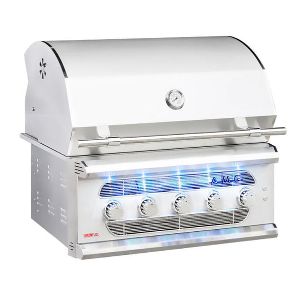 American Muscle Grill 36-Inch Dual Fuel Natural Gas, Charcoal or Wood Built-In Grill w/ 5 Burners - AMG36-NG