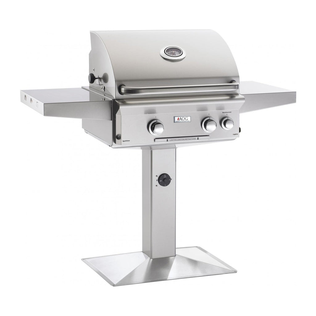 American Outdoor Grill Propane Gas 24-Inch L-Series 2-Burner Grill w/ Side Burner, Rotisserie Backburner and High Performance Rotisserie Kit on Pedestal - 24PPL