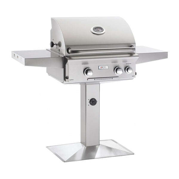 American Outdoor Grill Natural Gas 24-Inch L-Series 2-Burner Grill w/ Side Burner, Rotisserie Backburner and High Performance Rotisserie Kit on Pedestal - 24NPL