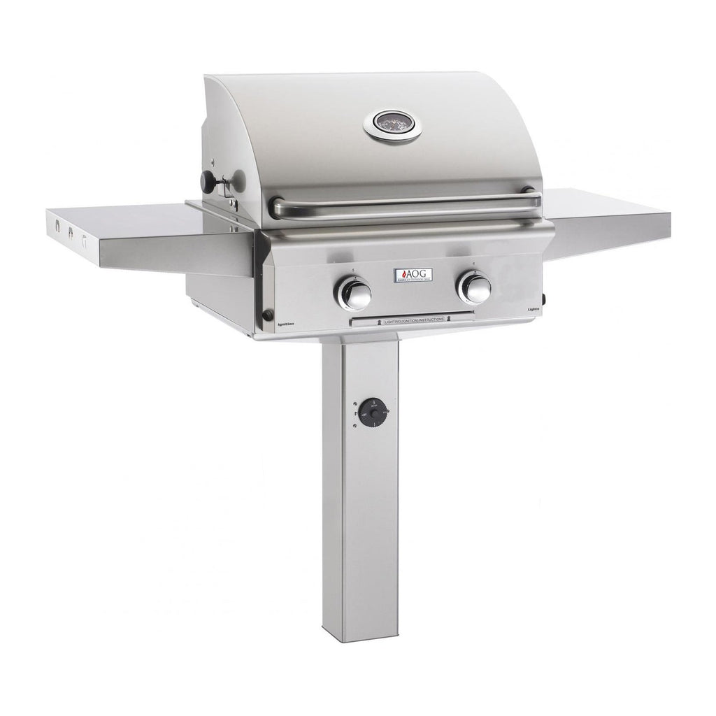 American Outdoor Grill Propane Gas 24-Inch L-Series 2-Burner Grill on In-Ground Post - 24PGL-00SP