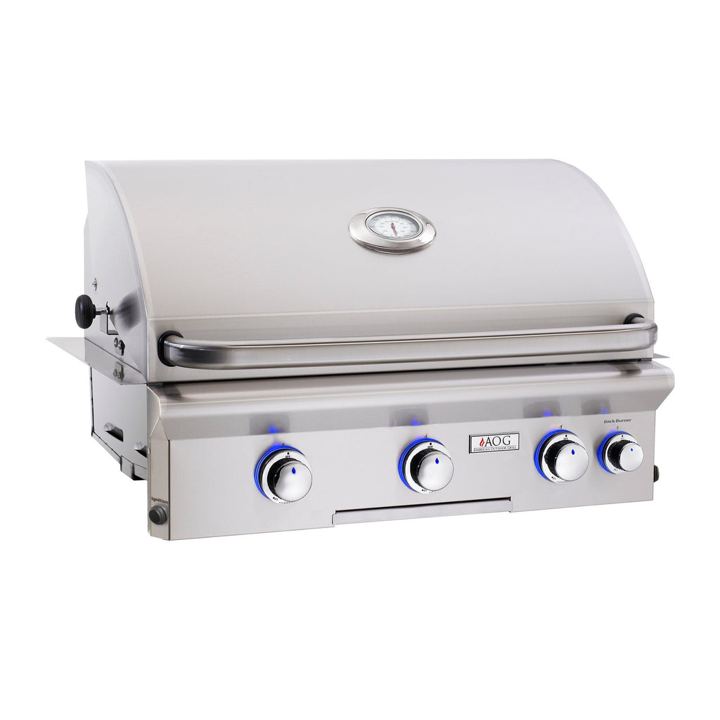 American Outdoor Grill Propane Gas 30-Inch L Series 3-Burner Built-In Grill w/ Rotisserie Backburner and High Performance Rotisserie Kit - 30PBL
