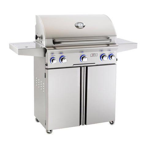 American Outdoor Grill Propane Gas 30-Inch L-Series 3-Burner Freestanding Grill w/ Side Burner, Rotisserie Backburner and High Performance Rotisserie Kit - 30PCL