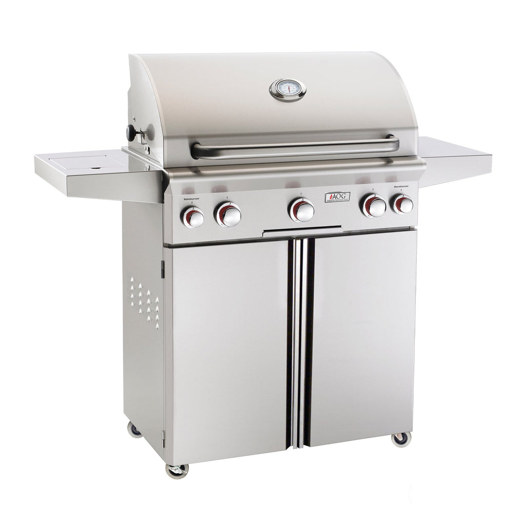 American Outdoor Grill Propane Gas 30-Inch T-Series 3-Burner Freestanding Grill w/ Side Burner, Rotisserie Backburner and High Performance Rotisserie Kit - 30PCT