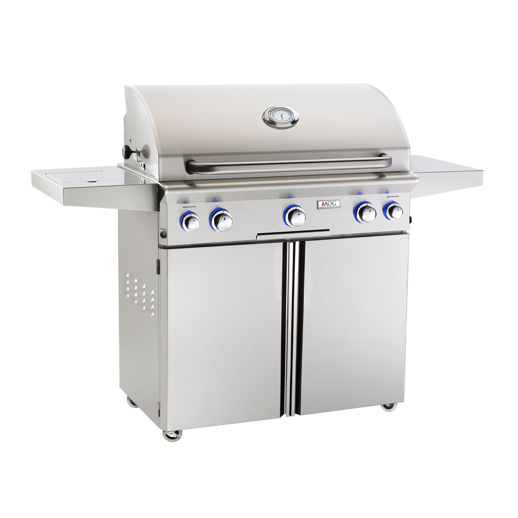 American Outdoor Grill Propane Gas 36-Inch L-Series 3-Burner Freestanding Grill w/ Side Burner, Rotisserie Backburner and High Performance Rotisserie Kit - 36PCL