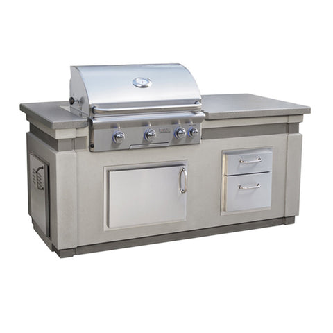 American Outdoor Grill 30-Inch Island Package Includes Grey Concrete Base w/ Polished top, L Series Built-In Grill, Double Drawer and Tank Tray - IP30LB-CGD-75SM