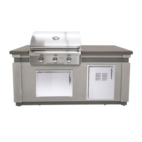 American Outdoor Grill 30-Inch Island Package Includes Grey Concrete Base w/ Polished top, T Series Built-In Grill, Double Drawer and Tank Tray - IP30TO-CGT-75SM