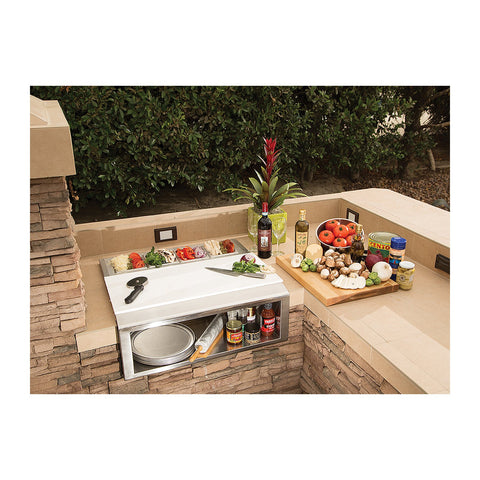 Alfresco 30-Inch Built-In Pizza Prep and Garnish Rail w/ Food Pans - APS-30PPC
