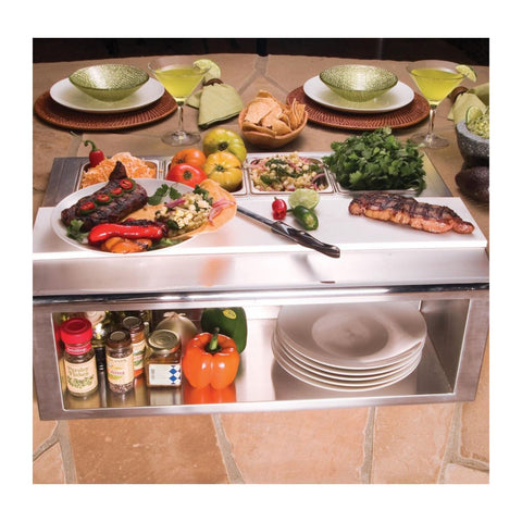 Alfresco 30-Inch Built-In Plate and Garnish Rail w/ Food Pans - APS-30P