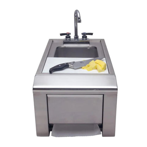 Alfresco 14-Inch Built-In Prep and Hand Wash Sink w/ Towel Dispenser - ASK-T