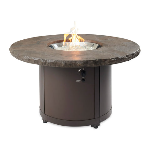 The Outdoor GreatRoom Beacon 48-Inch Chat Height Propane Gas Fire Pit Table in Marbleized Noche w/ Direct Spark Ignition - BC-20-MNB + CF-DSI-LP