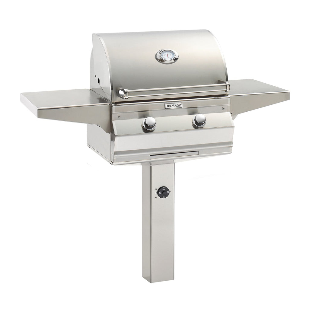 Fire Magic Choice C430i 24-Inch Propane Gas In-Ground Post Mounted Grill w/ Analog Thermometer - C430S-RT1P-G6