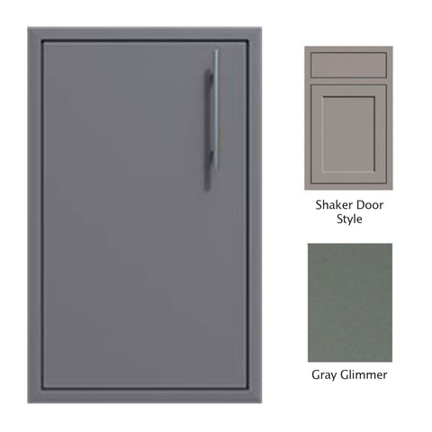 "Canyon Series Shaker Style 18""w by 29""h Single Door Enclosure w/ Adj. Shelf (Left Hinge) In Grey Glimmer - CAN001-F01-Shaker-LftHng-TexturedGreyGlimmer"