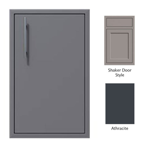 "Canyon Series Shaker Style 18""w by 29""h Single Door Enclosure w/ Adj. Shelf (Right Hinge) In Anthracite - CAN001-F01-Shaker-RghtHng-Anthracite"