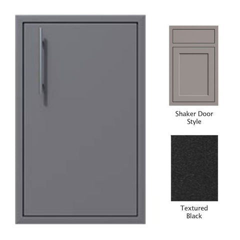 "Canyon Series Shaker Style 18""w by 29""h Single Door Enclosure w/ Adj. Shelf (Right Hinge) In Textured Black - CAN001-F01-Shaker-RghtHng-TexturedBlack"