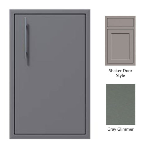 "Canyon Series Shaker Style 18""w by 29""h Single Door Enclosure w/ Adj. Shelf (Right Hinge) In Grey Glimmer - CAN001-F01-Shaker-RghtHng-TexturedGreyGlimmer"
