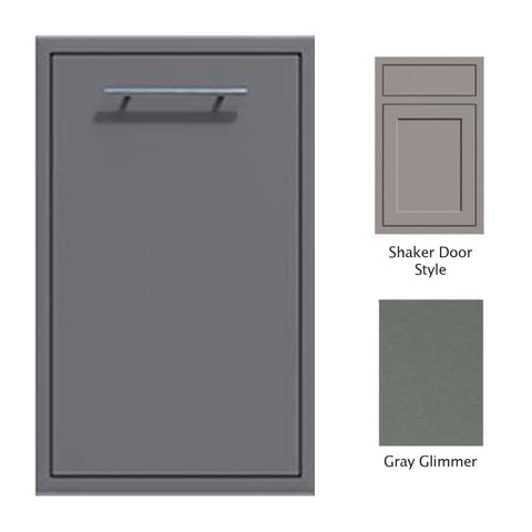 "Canyon Series Shaker Style 18""w by 29""h Trash Pullout Drawer Enclosure (Bin Included) In Grey Glimmer - CAN001-F04-Shaker-TexturedGreyGlimmer"