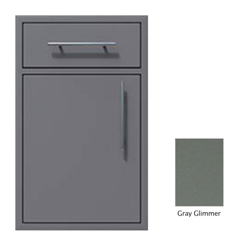 "Canyon Series 18""w by 29""h Single Door, Drawer Enclosure w/ Adj. Shelf (Left Hinge) In Grey Glimmer - CAN002-F01-LftHng-TexturedGreyGlimmer"