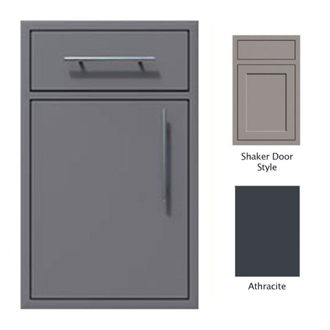 "Canyon Series Shaker Style 18""w by 29""h Single Door, Drawer Enclosure w/ Adj. Shelf (Left Hinge) In Anthracite - CAN002-F01-Shaker-LftHng-Anthracite"