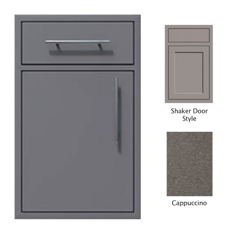"Canyon Series Shaker Style 18""w by 29""h Single Door, Drawer Enclosure w/ Adj. Shelf (Left Hinge) In Cappuccino - CAN002-F01-Shaker-LftHng-Cappuccino"