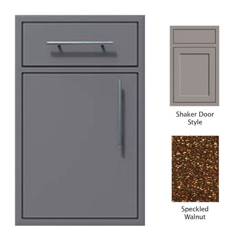 "Canyon Series Shaker Style 18""w by 29""h Single Door, Drawer Enclosure w/ Adj. Shelf (Left Hinge) In Speckled Walnut - CAN002-F01-Shaker-LftHng-SpeckWalnut"