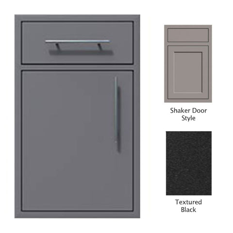 "Canyon Series Shaker Style 18""w by 29""h Single Door, Drawer Enclosure w/ Adj. Shelf (Left Hinge) In Textured Black - CAN002-F01-Shaker-LftHng-TexturedBlack"