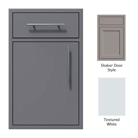 "Canyon Series Shaker Style 18""w by 29""h Single Door, Drawer Enclosure w/ Adj. Shelf (Left Hinge) In Textured White - CAN002-F01-Shaker-LftHng-TexturedWhite"