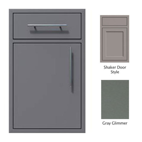 "Canyon Series Shaker Style 18""w by 29""h Single Door, Drawer Enclosure w/ Adj. Shelf (Left Hinge) In Grey Glimmer - CAN002-F01-Shaker-LftHng-TexturedGreyGlimmer"