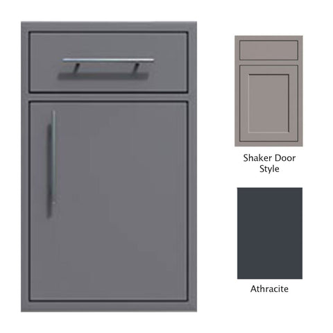 "Canyon Series Shaker Style 18""w by 29""h Single Door, Drawer Enclosure w/ Adj. Shelf (Right Hinge) In Anthracite - CAN002-F01-Shaker-RghtHng-Anthracite"