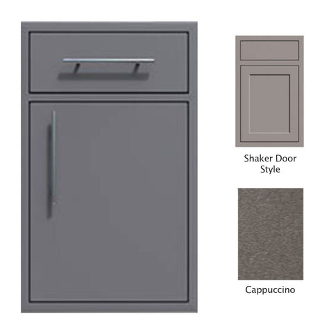 "Canyon Series Shaker Style 18""w by 29""h Single Door, Drawer Enclosure w/ Adj. Shelf (Right Hinge) In Cappuccino - CAN002-F01-Shaker-RghtHng-Cappuccino"